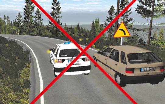 Zachowania osoby egzaminowanej zagrażające bezpośrednio życiu i zdrowiu uczestników ruchu drogowego skutkujące przerwaniem egzaminu państwowego.